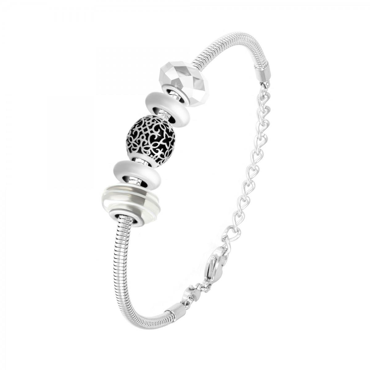 Bracelet de charms perles blancs et acier So Charm
