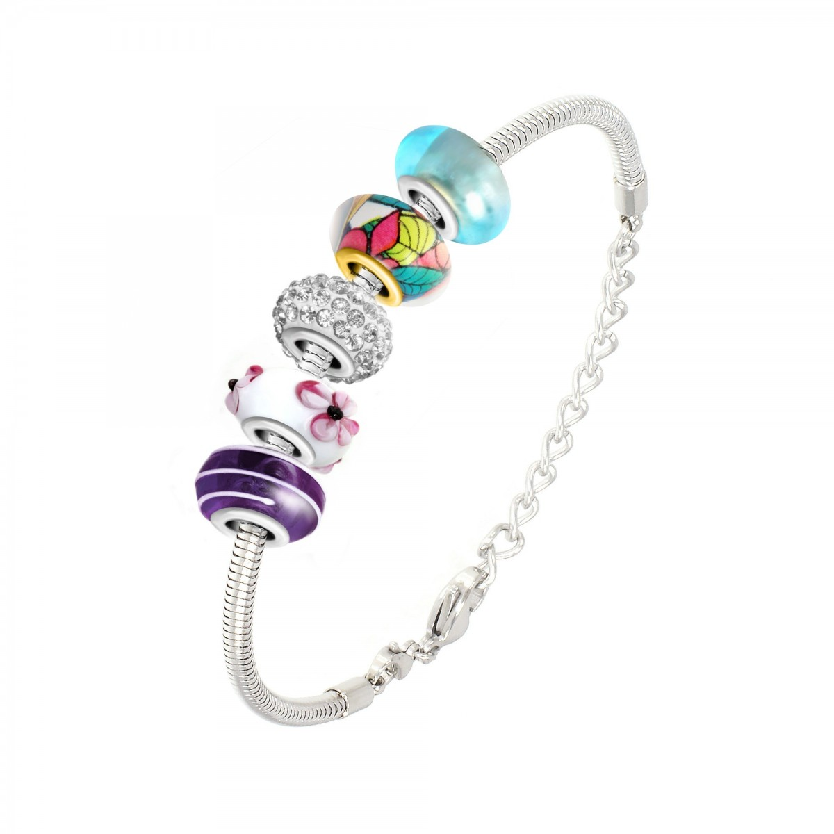 Bracelet de charms perles multicouleurs et acier So Charm