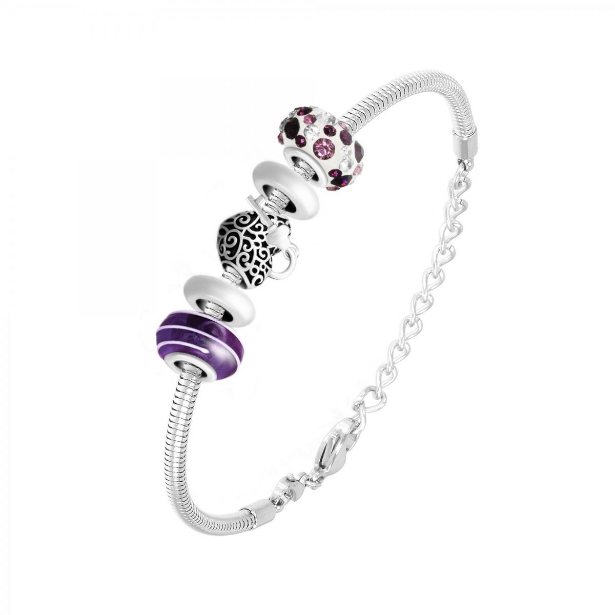 Bracelet de charms perles violets et acier So Charm