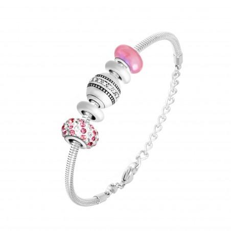 Bracelet de charms perles roses et acier So Charm