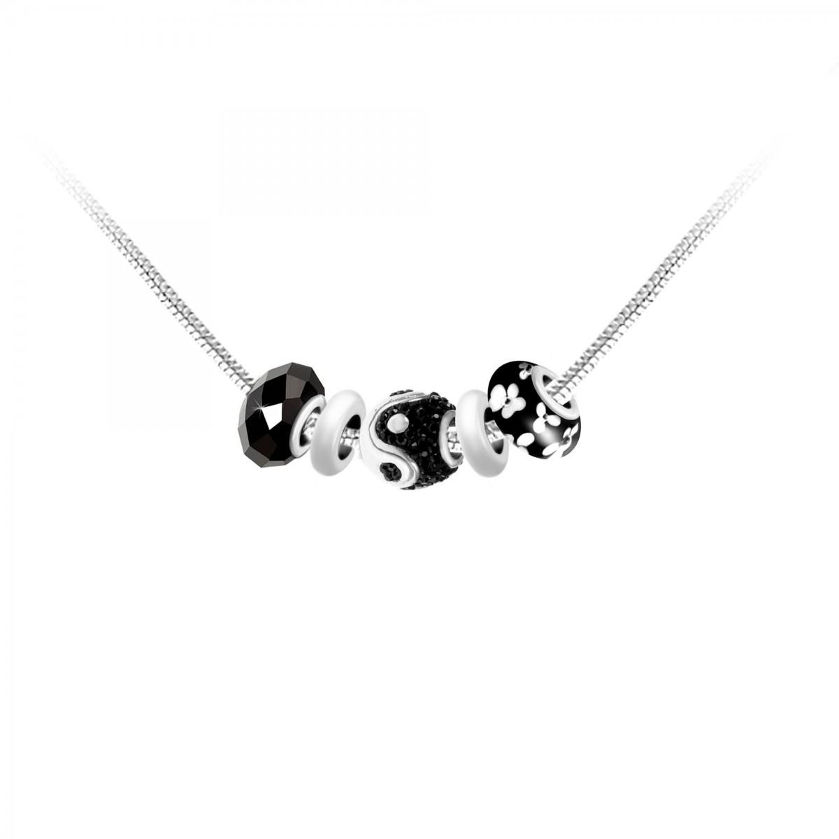 Collier de charms perles noirs et acier So Charm
