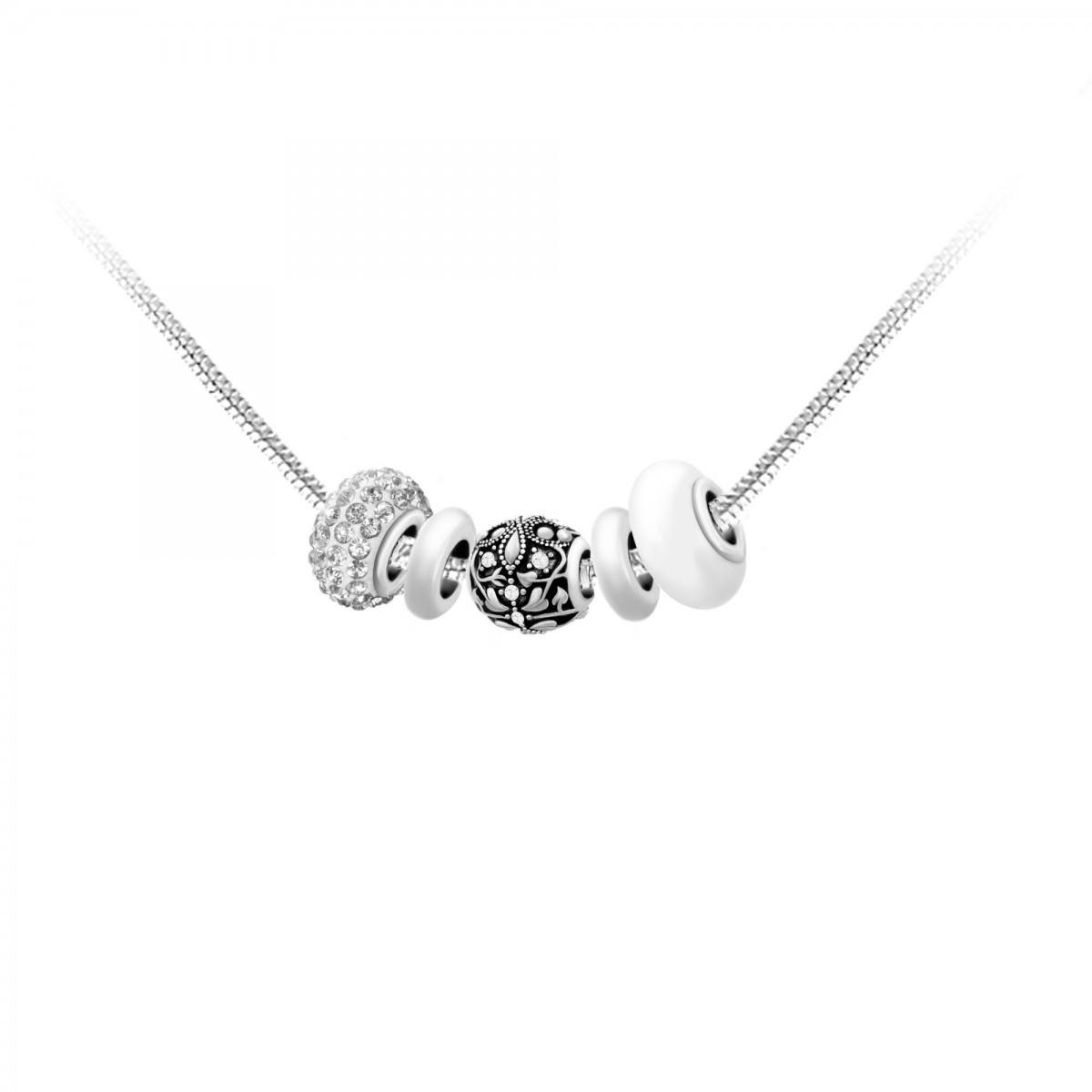 en ligne à la vente dernière mode boutique de sortie Collier de charms perles blancs et acier So Charm
