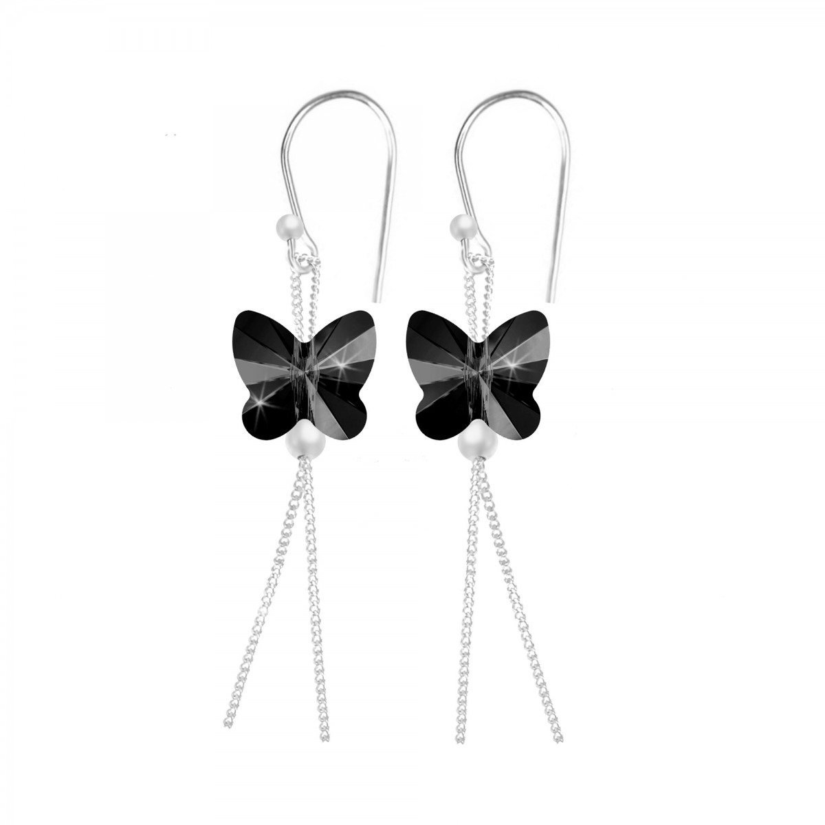 Boucles d'oreilles So Charm ornées de papillons noirs made with crystal from Swarovski