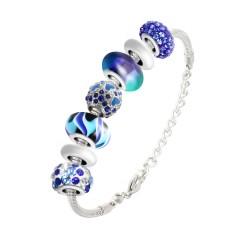 BR01 pulsera perlas azules...
