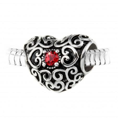 Charm perle coeur orné de cristaux de Bohème et acier par So Charm
