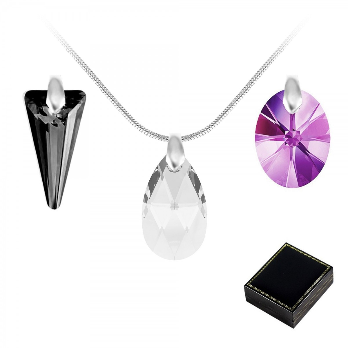 Lot de 3 pendentifs So Charm made with crystal from Swarovski