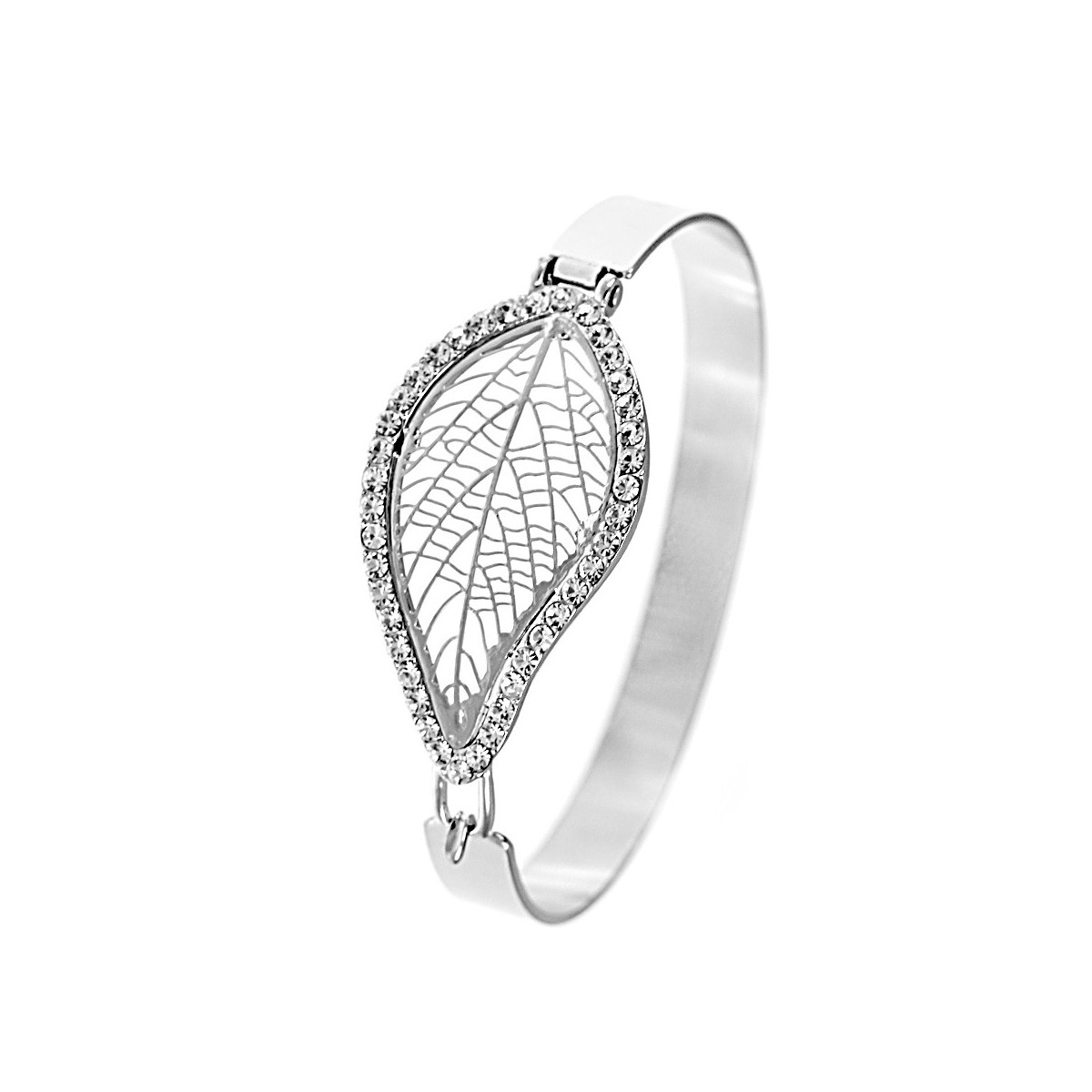 Bracelet feuille filigrane argenté So Charm made with crystal from Swarovski