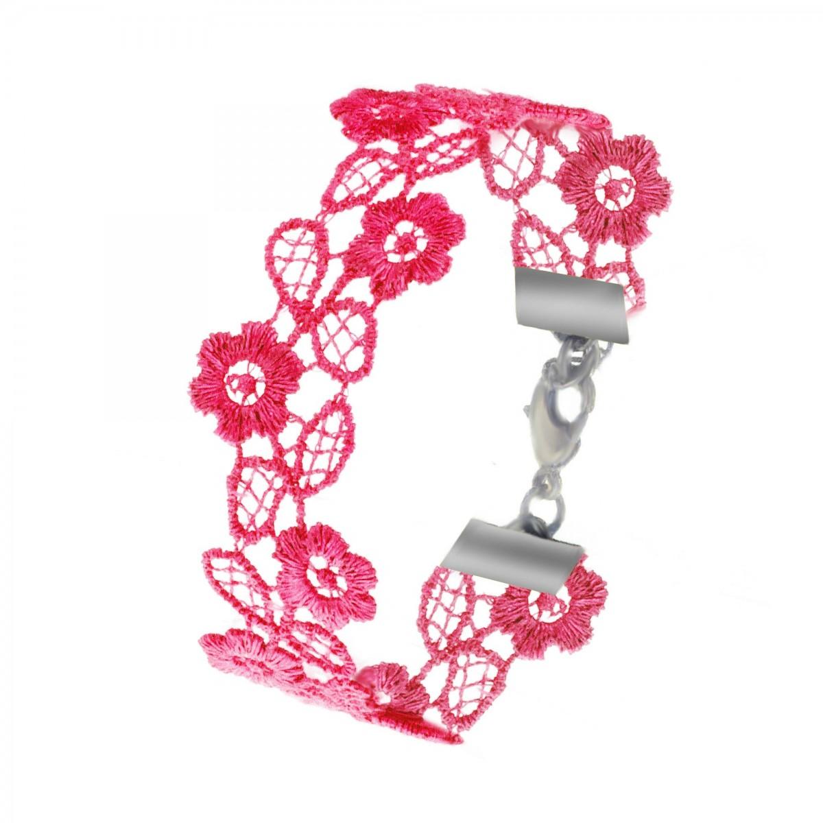 B1123-ROSEFONCE Bracelet parfumable en dentelle So Charm