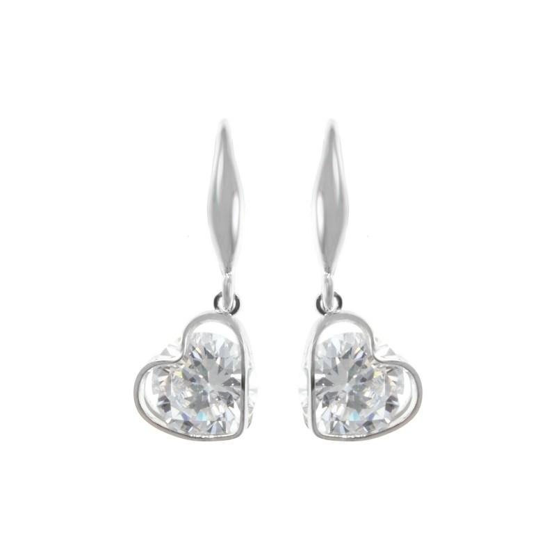 B1189-ARGENT Boucles d'oreilles coeurs So Charm