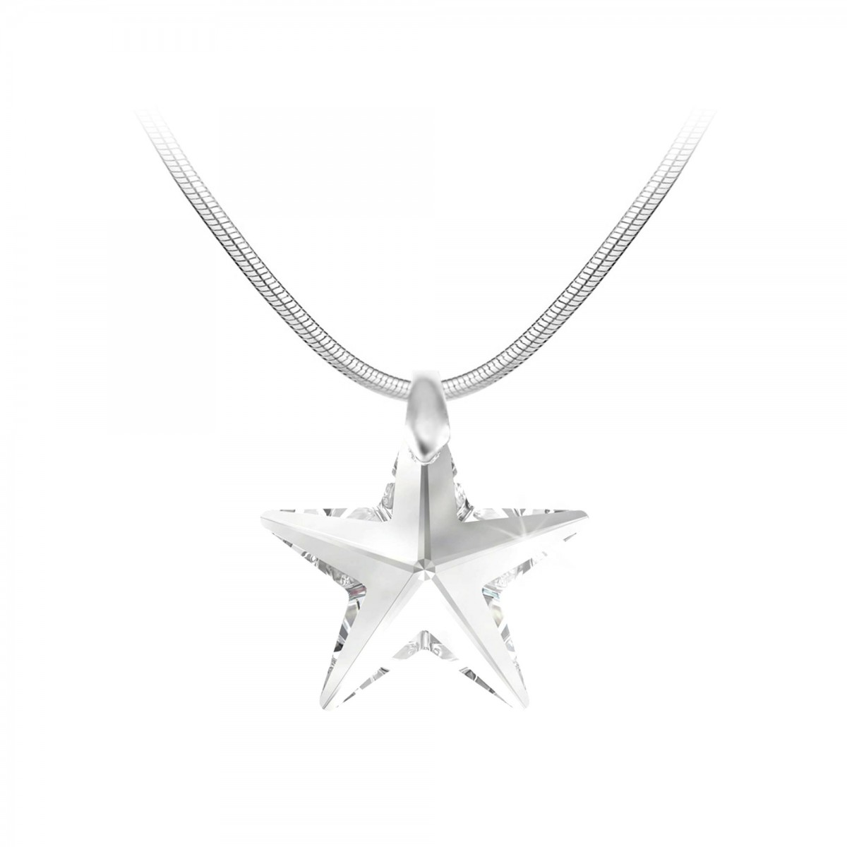 Collier argenté et étoile blanche So Charm made with crystal from Swarovski