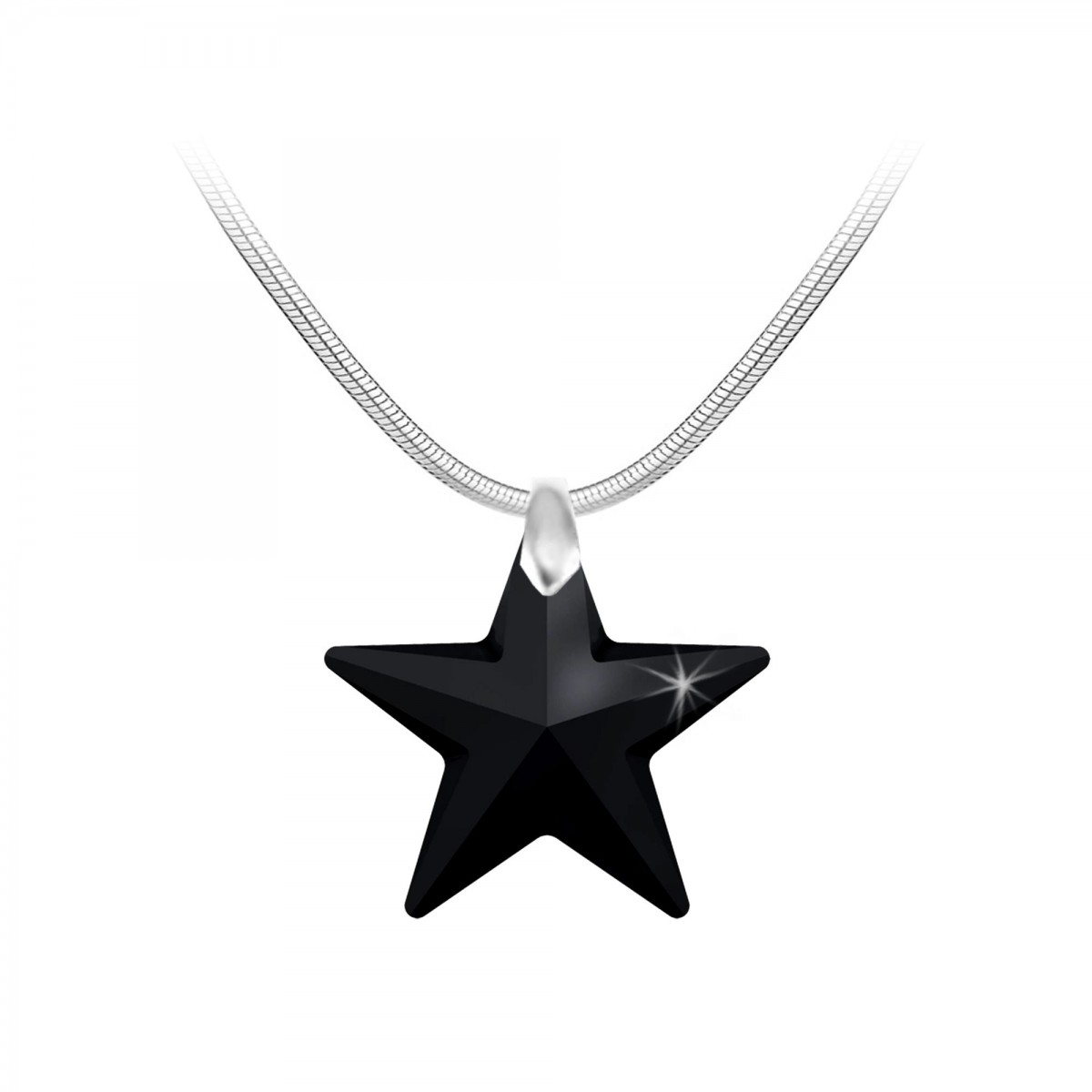 Collier argenté étoile noire So Charm made with Crystal from Swarovski