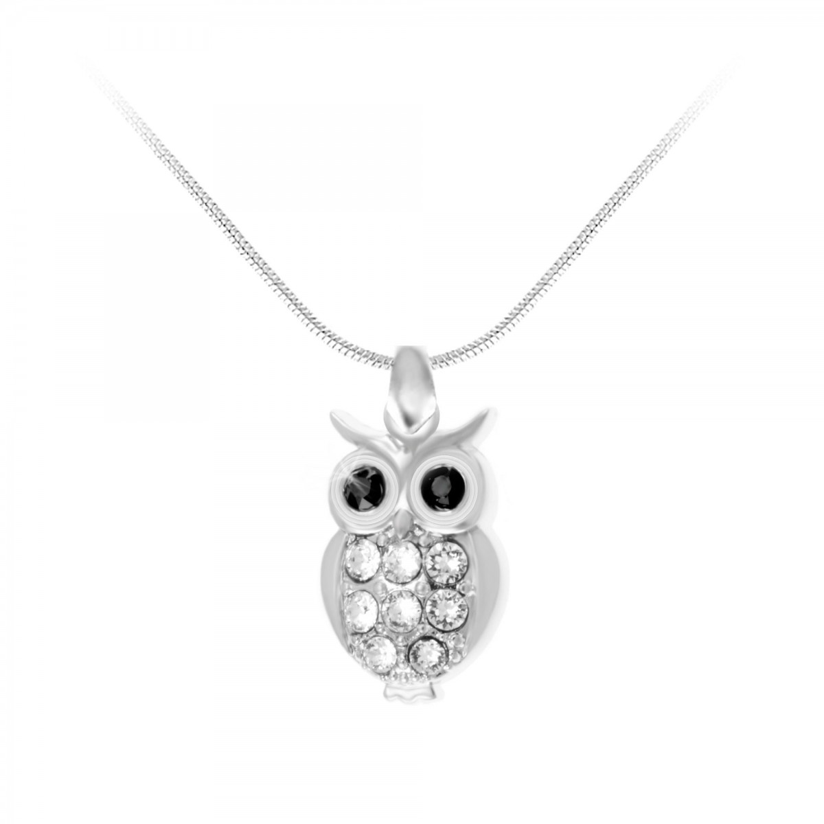 CH0301-ARGENT-SN016 Collier hibou So Charm made with crystals from Swarovski