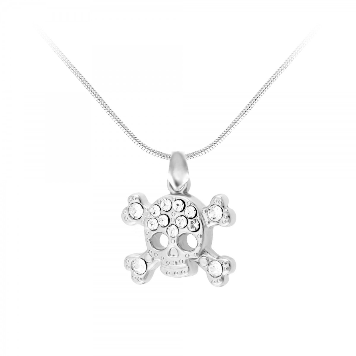 CH0120-ARGENT-SN016 Collier tête de mort So Charm made with crystals from Swarovski