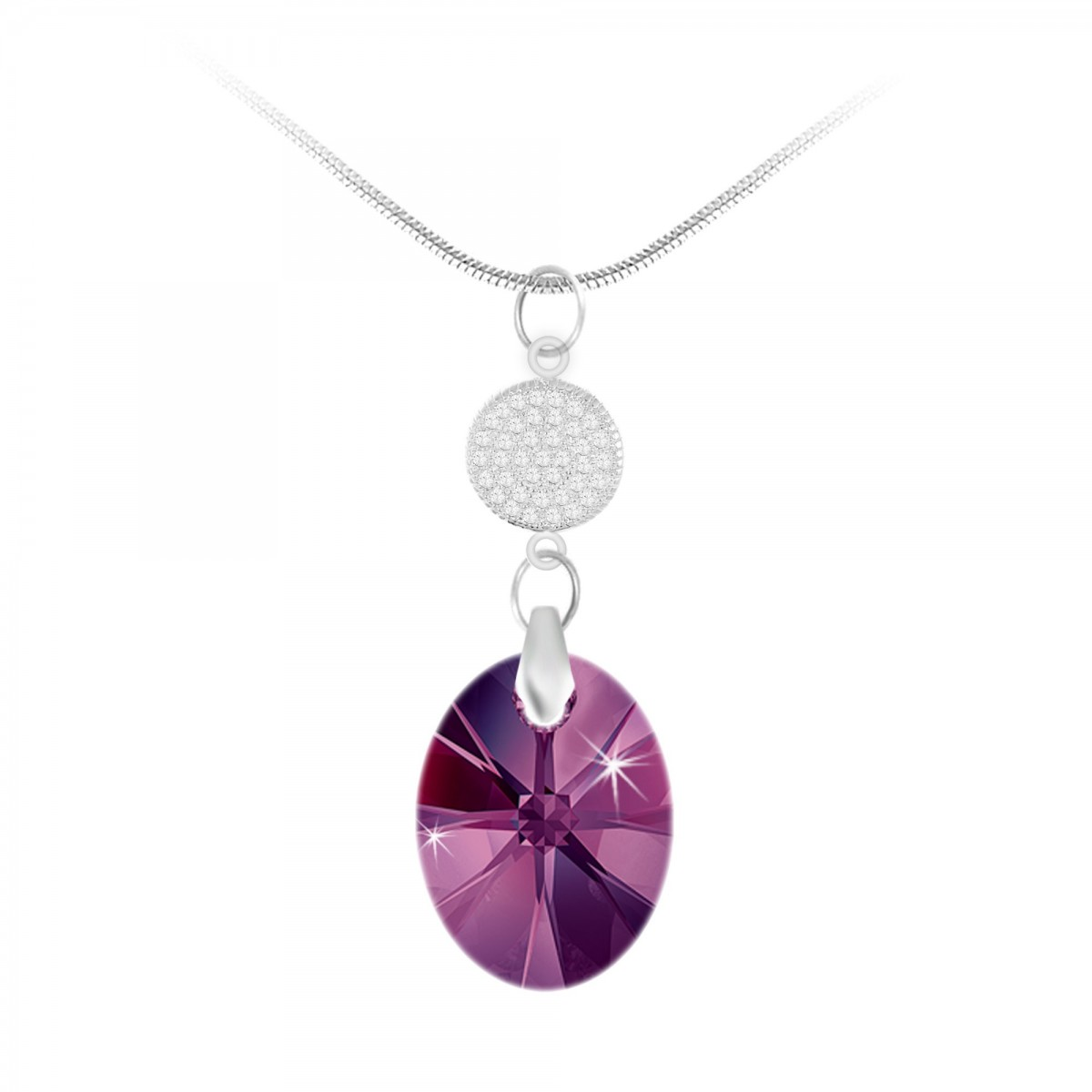 BS049-SN032-AMET Collier argenté So Charm made with crystals from Swarovski amethyst