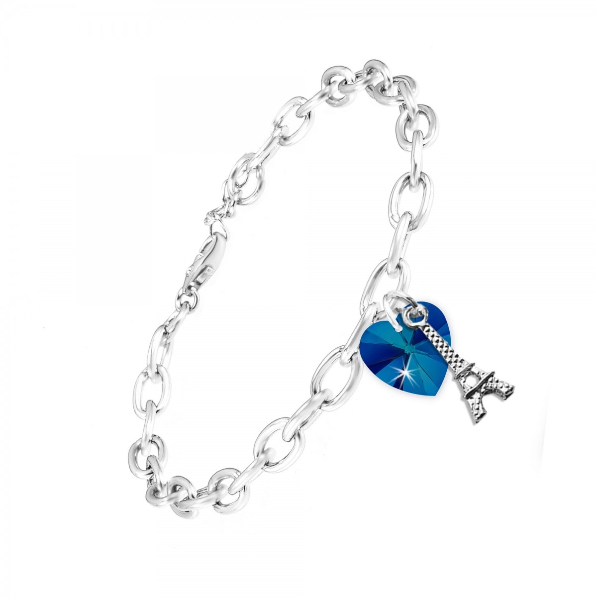 Bracelet argenté Tour Eiffel So Charm orné d'un coeur made with crystals from Swarovski bermuda blue