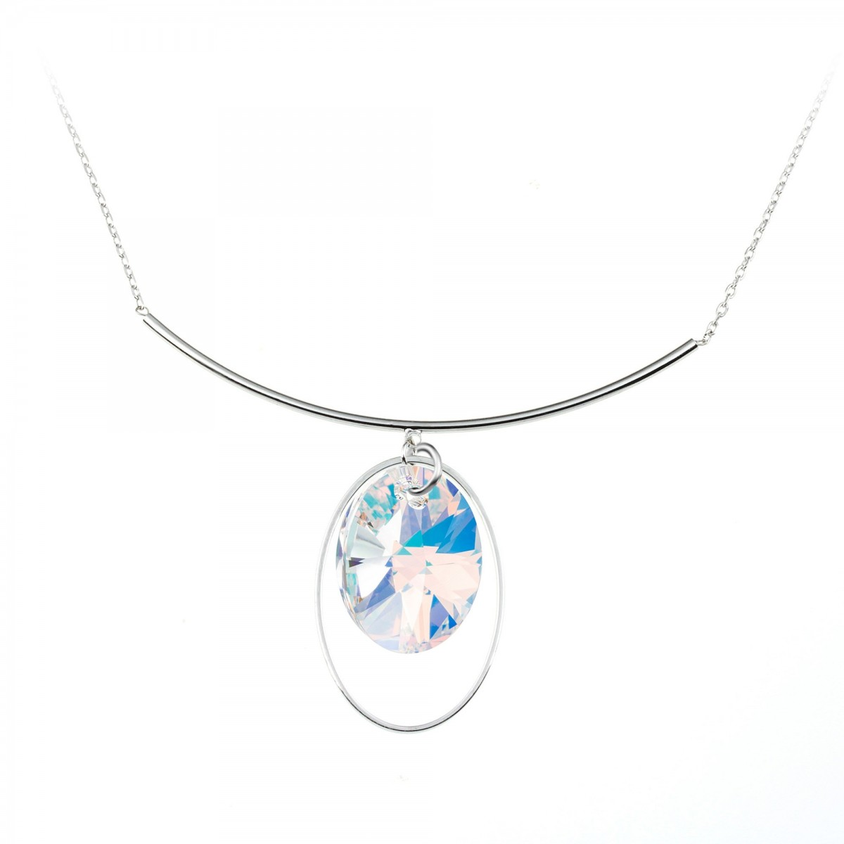 BS049-B1213-IRIS Collier argenté So Charm made with crystals from Swarovski irisé