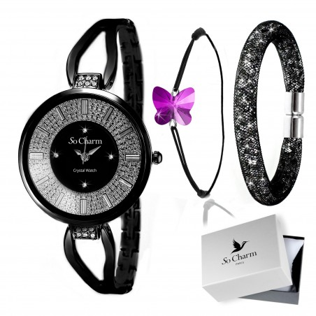 Coffret montre mode So Charm made with crystal from Swarovski et ses bracelets