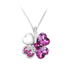 Collier trèfle rose BR01...