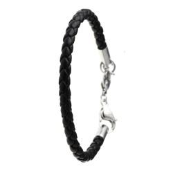 Black leather bracelet for...
