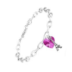 Bracelet coeur rose et Tour...