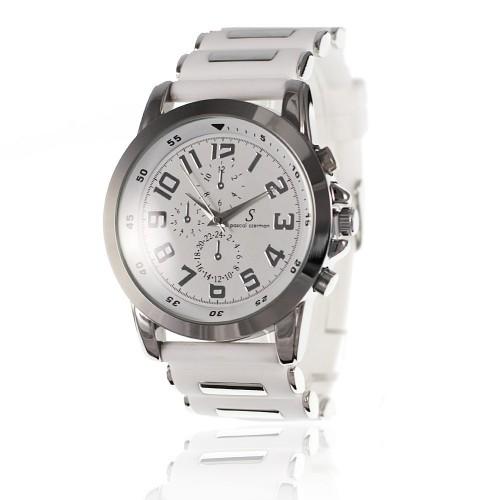 MH007B Montre homme quartz bracelet silicone blanc cadran argent