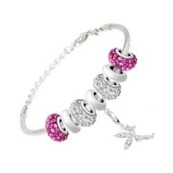 BR01 con perle rosa e acciaio