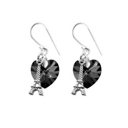 Earrings black heart and...